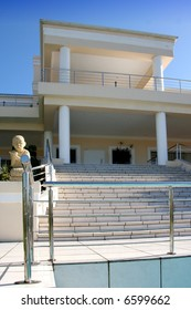 The stairway and stainless steel balustrade of a modern dwelling