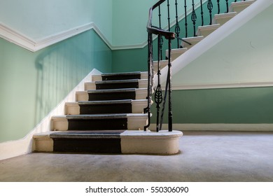 Stairway in vintage historic apartment house in Edinburgh in day natural light low angle shot