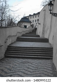 Stairways leading down from Prague Castle with Cobblestones