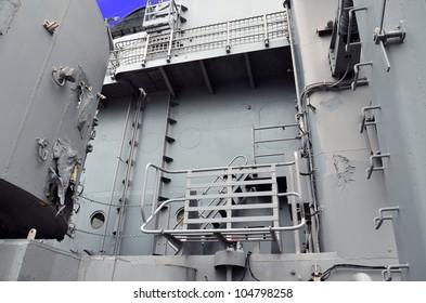 stairways on side of battleship