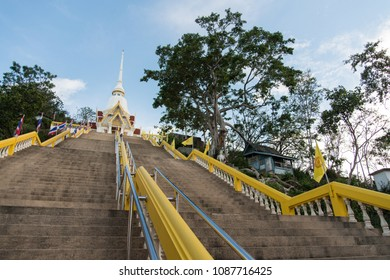 The stairways to the Phra Ubosot at  Khao Takiab Temple, Hua hin