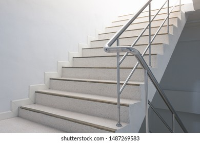 stairwell in the building with handles