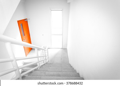 stairwell fire escape in building.