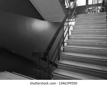 Stairwell fire escape.stairwell in a modern building.Emergency Exit in workplace.