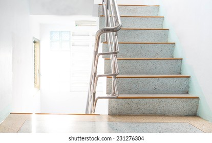 stairwell in a modern building the light and airy.
