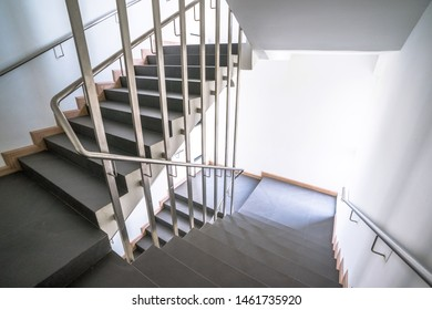 Stairwell in a modern building, offices, fire escape.