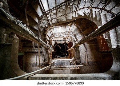 Stairwell in an old abandoned house