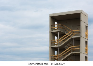 the stairwell and the sky of a construction site