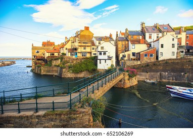 Staithes harbour of North Yorkshire, England.