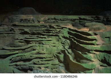 Stalactite formations on ground in Son Doong Cave, the largest cave in the world in UNESCO World Heritage Site Phong Nha-Ke Bang National Park, Quang Binh province, Vietnam