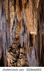 a stalactite and a stalagmite growing and being close to meeting to form a column in a cave