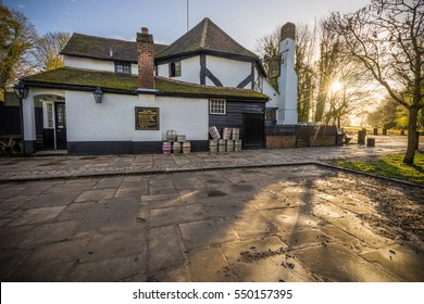 """ST.ALBANS, UK - DECEMBER 12, 2016: """"Ye Olde Fighting Cocks"""" pub in the morning.One of several pubs that lay claim to being the oldest in England"""