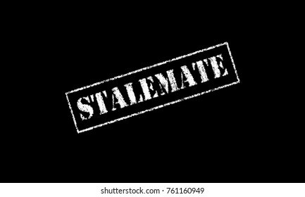 stalemate  rubber stamp stencil text on a black background letters