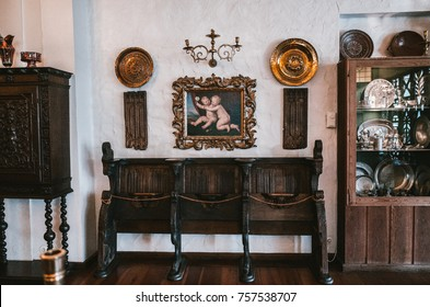 Stalheim, Norway - Aug.21.2016: Stalheim hotel's interior, museum room with old furniture. Exhibits of everyday people, antiquities