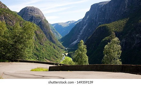 Stalheimskleiva - old road in mountains near city Voss in Norway