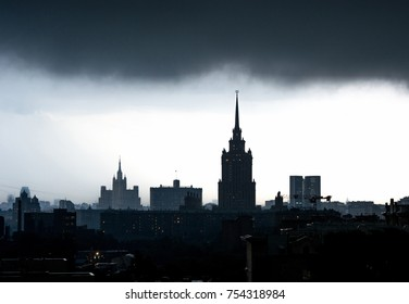 Stalin skycraper in Moscow with stormy sky