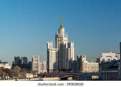 Stalin-era building on a Kotelnicheskaya Embankment, Moscow, Russia
