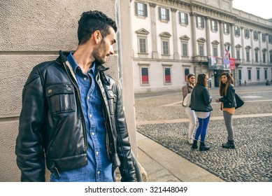 Stalking - Ex boyfriend spying his ex girlfriend - stalking,infidelity and jealousy concepts