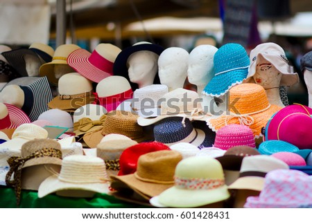 00199786 Stall Colorful Hats On Small Street Stock Photo (Edit Now) 601428431 ...