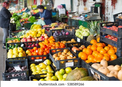 Stall with fresh fruits and vegetables at Porto market. Portugal