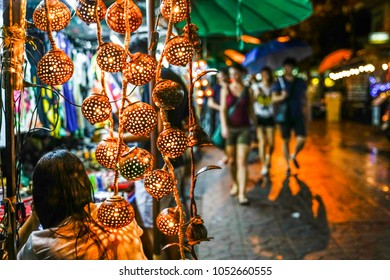 A stall selling decorative items at Khao San road, Bangkok, Thailand