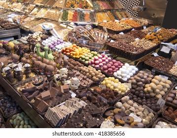 Stall of sweets in La Boqueria
