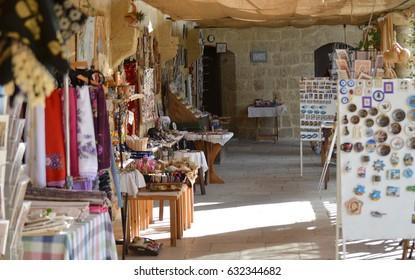 Stalls inside the popular tourist attraction of Buyuk Han, Lefkosa