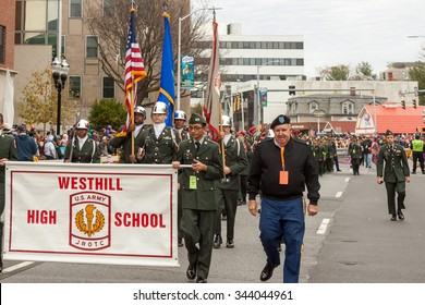 """Stamford, Connecticut - November 22, 2015: The annual """"Thanksgiving Day Parade"""" in Stamford, Connecticut on November 22, 2015"""
