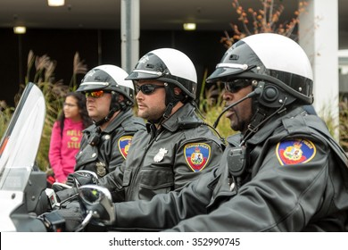 """Stamford, Connecticut - November 22, 2015: Police at the annual """"Thanksgiving Day Parade"""" in Stamford, Connecticut on November 22, 2015."""