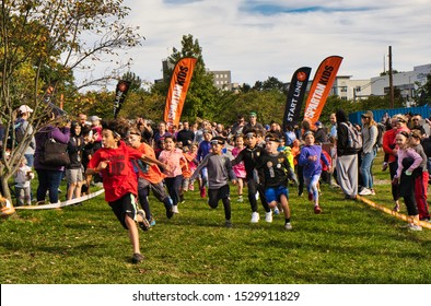 Stamford, Connecticut / USA - October 13, 2019: Activities at the Kid'Spartan Race in Mill River Park in Downtown Stamford Connecticut.