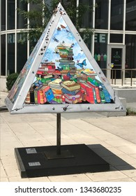 STAMFORD, CT - JUN 6: ART SHAPES! Outdoor Sculpture Exhibit in Stamford, Connecticut, on Jun 6, 2017. This exhibition was part of the annual Art in Public Places sculptures lining the sidewalks.