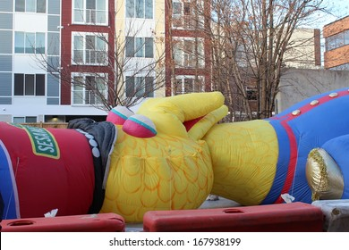 STAMFORD, CT - NOVEMBER 23, 2013: Big Bird is being inflated in the preparation for the yearly UBS Parade Spectacular in Stamford, CT