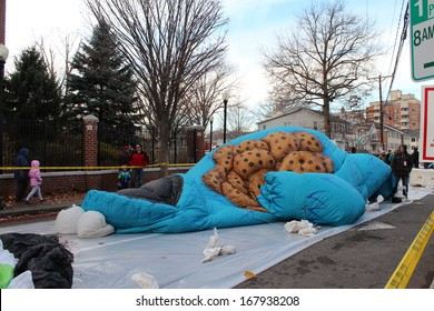 STAMFORD, CT - NOVEMBER 23, 2013: Cookie Monster is being inflated in the preparation for the yearly UBS Parade Spectacular in Stamford, CT