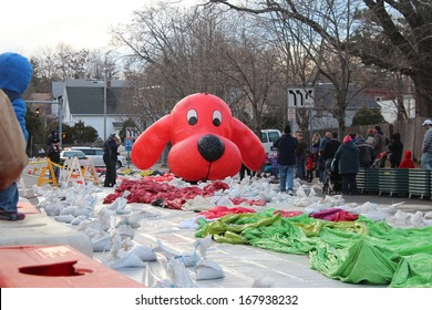 STAMFORD, CT - NOVEMBER 23, 2013: Clifford is being inflated in the preparation for the yearly UBS Parade Spectacular in Stamford, CT