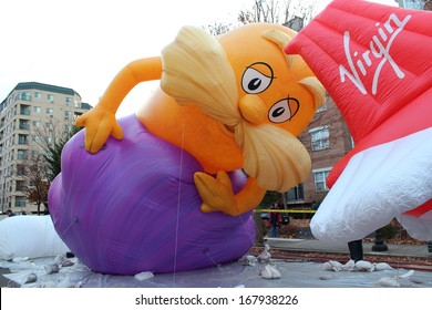 STAMFORD, CT - NOVEMBER 23, 2013:Lorax is being inflated in the preparation for the yearly UBS Parade Spectacular in Stamford, CT
