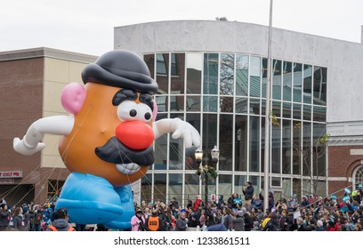 Stamford, CT, USA - 18 November, 2018 : Mr. Potato Head in Stamford Downtown Parade Spectacular. One of the largest helium balloon parades with giant balloon characters, marching bands and floats.