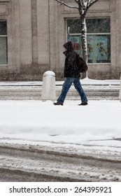 Stamford, CT, USA - March 20th, 2015: Daytime scene In downtown Stamford Connecticut on March 20th, 2015 during a snow storm