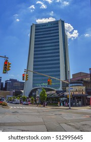 STAMFORD - USA JUNE 2016: One Landmark Square, the second tallest building in the city of Stamford, USA. It has 21 stories, the tallest being the new Trump Parc, at 35-stories high.