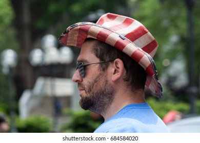 """Stamford, USA - May 28, 2017: Spectator at the annual """"Memorial Day Parade"""" in Stamford, Connecticut"""