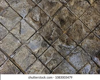 Stamp concrete floor.,Car parking floor.
