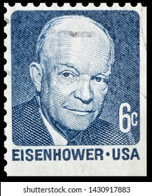 The stamp depicts Eisenhower Dwight David. US stamp 1958