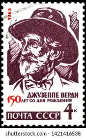 The stamp depicts Giuseppe Fortunino Francesco Verdi. 1963 USSR stamp