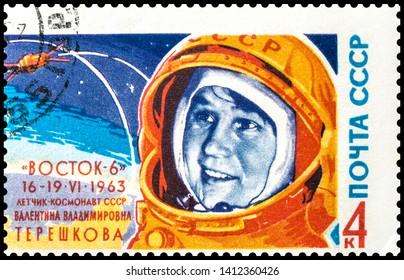 The stamp depicts Valentina Vladimirovna Tereshkova (Vostok-6). Postage stamp of the USSR (issued in 1963)