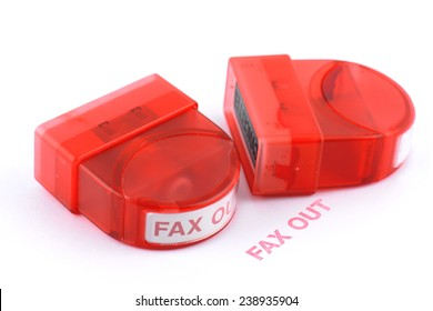 stamp with faxed in red ink isolated on white background