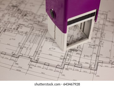 Stamp on plan of house background. Finance and growth of business