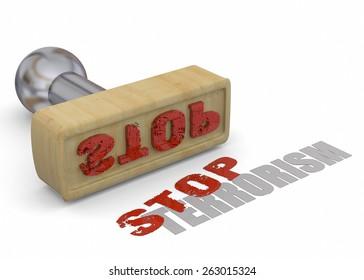 Stamp Stop Terrorism on white background
