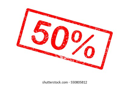 stamp with text 50 percent inside. 50 percent stampsign.