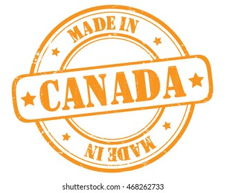 "stamp with text ""made in Canada"" isolated on white background. Bitmap"