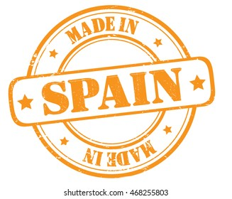 "stamp with text ""made in Spain"" isolated on white background. Bitmap"