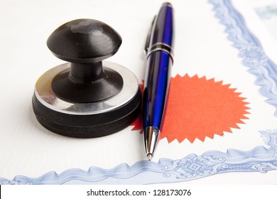 Stamp that is used by a notary public and signed document